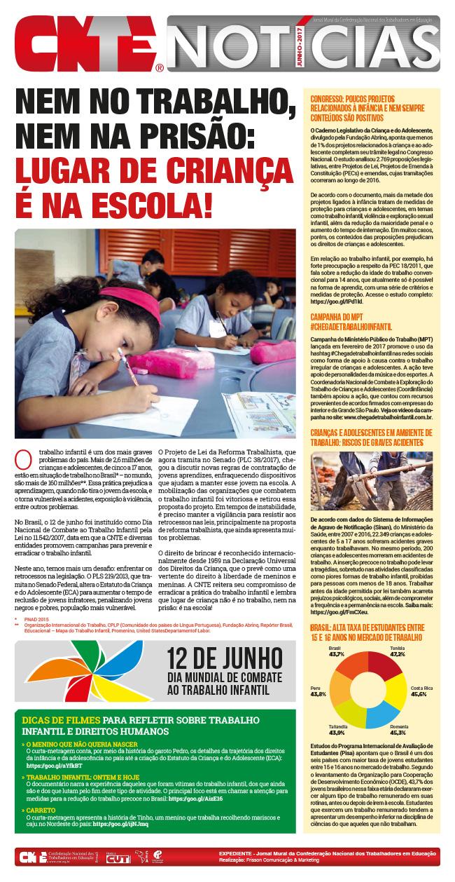 Jornal mural de combate ao trabalho infantil - CNTE